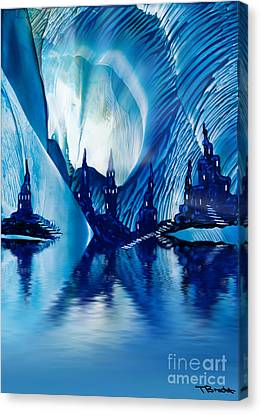 Subterranean Castles Wax Painting In Blue Canvas Print by Simon Bratt Photography LRPS