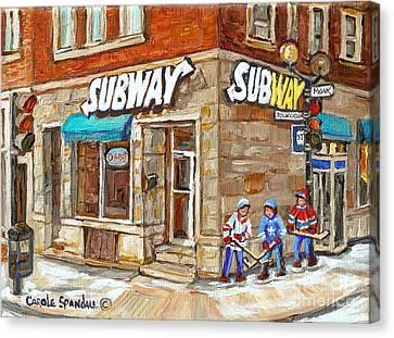 Subway Restaurant Monk Avenue Verdun Montreal Art Winter Hockey Scenes Paintings Carole Spandau Canvas Print by Carole Spandau
