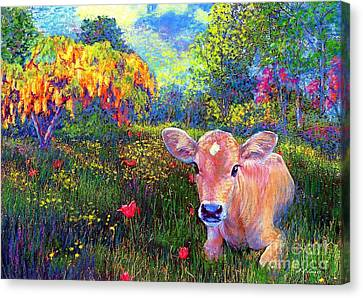 Such A Contented Cow Canvas Print by Jane Small