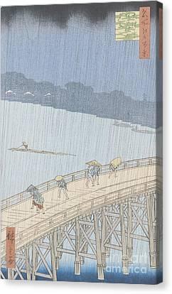 Sudden Shower On Ohashi Bridge At Ataka Canvas Print by Ando Hiroshige