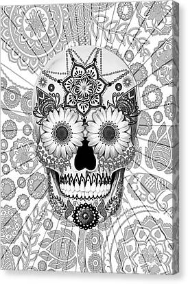 Sugar Skull Bleached Bones - Copyrighted Canvas Print by Christopher Beikmann