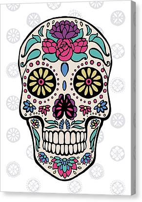 Sugar Skull IIi On Gray Canvas Print by Janelle Penner