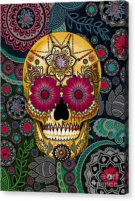 Sugar Skull Paisley Garden - Copyrighted Canvas Print by Christopher Beikmann
