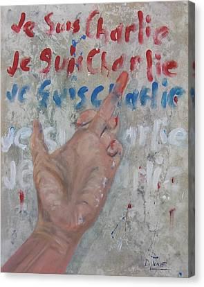 Je Suis Charlie Finger Painting To Al Qaeda Canvas Print by Michael Dillon