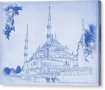 Sultan Ahmed Mosque Istanbul Blueprint Canvas Print by Kaleidoscopik Photography