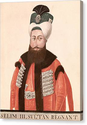 Sultan Selim IIi 1761-1808 18th-19th Century Wc On Paper Canvas Print by Turkish School