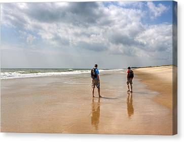 Summer A Beach In The Hamptons Canvas Print by Mark E Tisdale