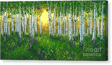Summer Birch 24 X 48 Canvas Print by Michael Swanson