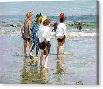 Summer Day At Brighton Beach Canvas Print by Edward Potthast