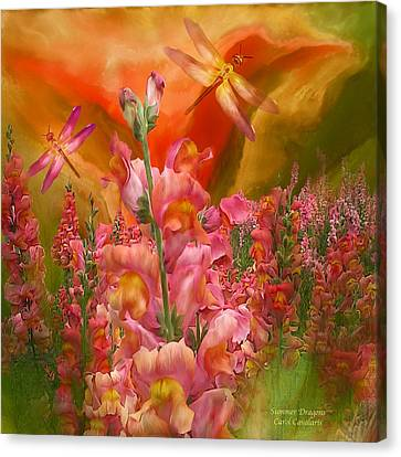 Summer Dragons - Square Canvas Print by Carol Cavalaris