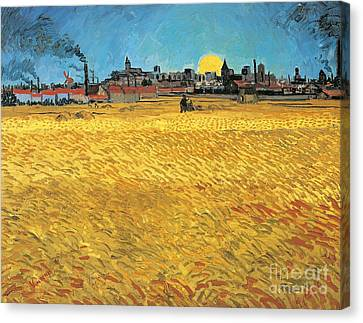 Summer Evening Wheat Field At Sunset Canvas Print by Vincent van Gogh