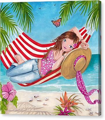 Summer Hammock Canvas Print by Caroline Bonne-Muller