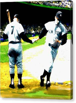 Summer Of The Gods  Iv 1961 Mickey Mantle Canvas Print by Iconic Images Art Gallery David Pucciarelli