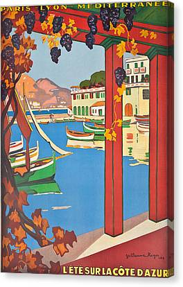 Summer On The Cote D Azur Canvas Print by Guillaume Georges Roger
