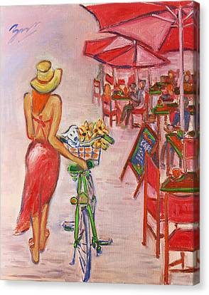 Summer Stroll By A Cafe Canvas Print by Xueling Zou