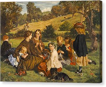 Summertime, Gloucestershire, Exh.1860 Oil On Canvas Canvas Print by James Archer