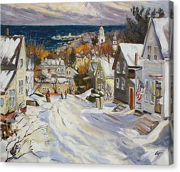 Summit Avenue In Winter Canvas Print by Chris Coyne