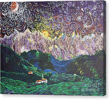 Sun And Moon Night Canvas Print by Stefan Duncan