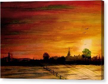 Sun Behind Green Tree Canvas Print by R Kyllo