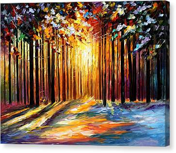 Sun Of January - Palette Knife Landscape Forest Oil Painting On Canvas By Leonid Afremov Canvas Print by Leonid Afremov
