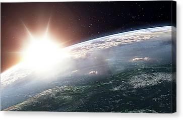 Sun Over Earth Canvas Print by Andrzej Wojcicki