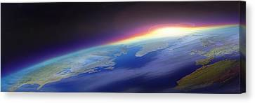 Sun Rising Over The Earth Canvas Print by Panoramic Images