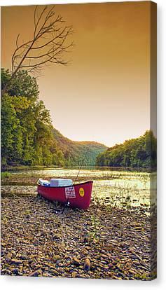 Sun Sets At Buffalo River Canvas Print by Bill Tiepelman