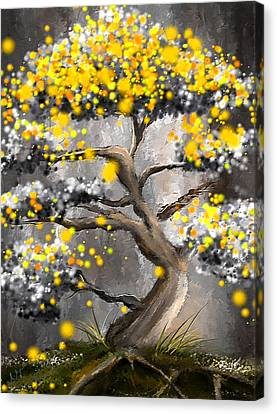 Sun Showers - Yellow And Gray Art Canvas Print by Lourry Legarde