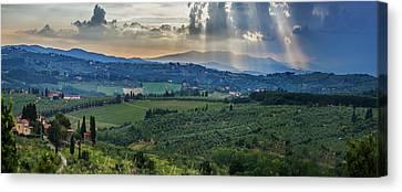 Sunbeams Through The Clouds Canvas Print by Brian Guzzetti