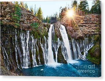 Sunburst Falls - Burney Falls Is One Of The Most Beautiful Waterfalls In California Canvas Print by Jamie Pham
