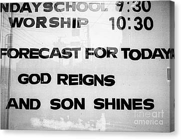 Sunday School Worship - God Reigns And Son Shines Canvas Print by Dean Harte