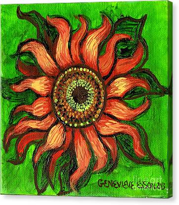 Sunflower 1 Canvas Print by Genevieve Esson