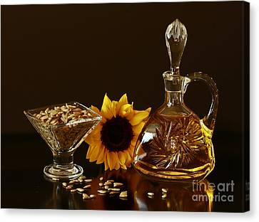 Sunflower And Crystal Canvas Print by Inspired Nature Photography Fine Art Photography