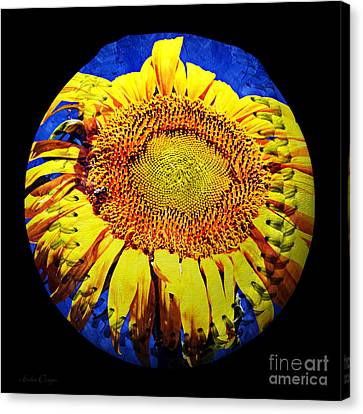 Sunflower Baseball Square Canvas Print by Andee Design