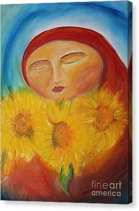 Sunflower Madonna Canvas Print by Teresa Hutto