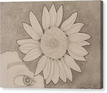 Sunflower Peeping Eye Canvas Print by Aaron El-Amin