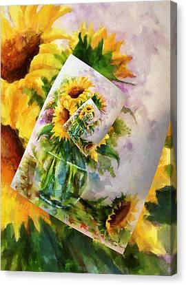 Sunflower Print On Print On Print Canvas Print by Georgiana Romanovna