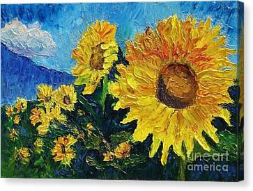 Sunflower Riot Canvas Print by Linda Mooney