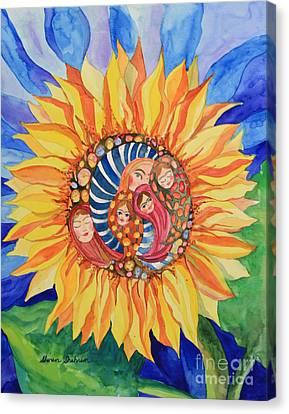 Sunflower Seeds Of Hope Canvas Print by Shirin Shahram Badie