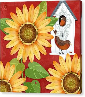 Sunflower Surprise Canvas Print by Valerie Drake Lesiak