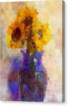 Sunflower Trio In Blue Vase Canvas Print by Heidi Smith