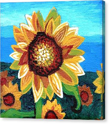 Sunflowers And Blue Sky Canvas Print by Genevieve Esson