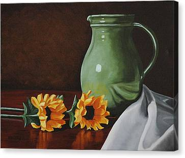 Sunflowers And Green Water Jug Canvas Print by Daniel Kansky