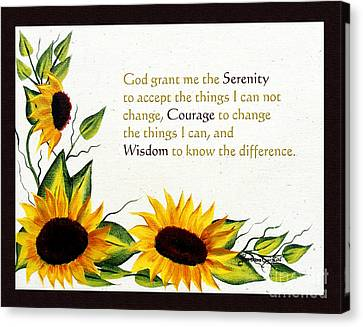 Sunflowers And Serenity Prayer Canvas Print by Barbara Griffin