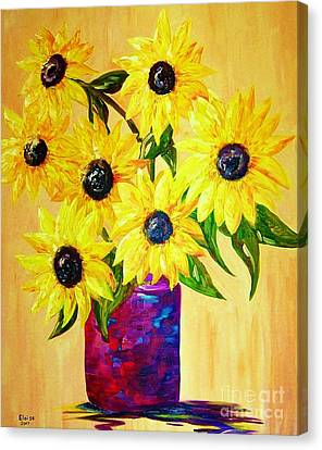 Sunflowers In A Red Pot Canvas Print by Eloise Schneider