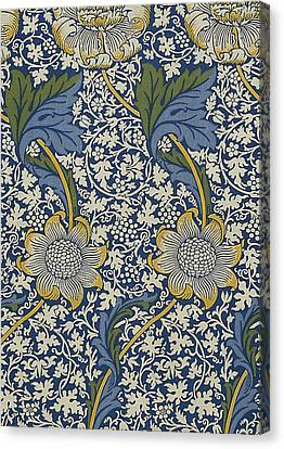 Sunflowers On Blue Pattern Canvas Print by William Morris