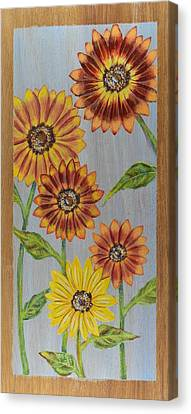 Sunflowers On Wood Panel I Canvas Print by Elizabeth Golden