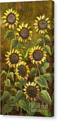 Sunflowers With Gold Leaf By Vic Mastis Canvas Print by Vic  Mastis