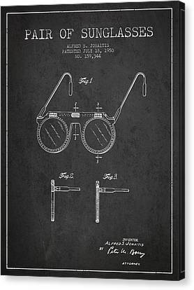 Sunglasses Patent From 1950 - Dark Canvas Print by Aged Pixel