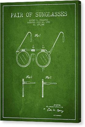 Sunglasses Patent From 1950 - Green Canvas Print by Aged Pixel